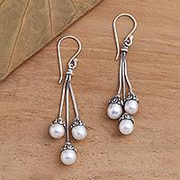 Cultured pearl dangle earrings, 'Manifest Destiny' - Sterling Silver and Freshwater Pearl Dangle Earrings