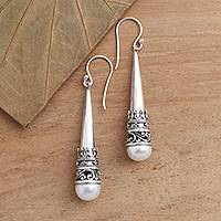 Cultured pearl dangle earrings, 'Bali Cornet' - Sterling Silver Cone Dangle Earrings with Cultured Pearl