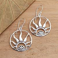 Sterling silver dangle earrings, 'Balinese Fire' - Fire Ring Sterling High Polish Silver Dangle Earrings