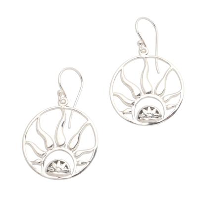Sterling silver dangle earrings, 'Balinese Fire' - Fire Ring Sterling High Polish Silver Dangle Earrings