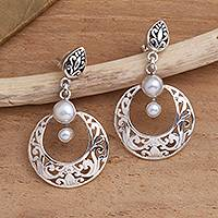 Cultured pearl dangle earrings, 'Moon Over Bali' - Sterling Silver Post. Dangle Earrings with Cultured Pearls
