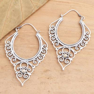 Gold-accented sterling silver hoop earrings, 'Hearts in Spiral' - Balinese Gold Accented Sterling Silver Hoop Earrings