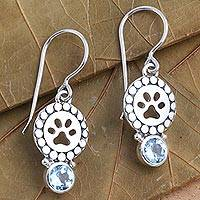 Blue topaz dangle earrings, 'Paws and Gems in Blue' - Blue Topaz Sterling Silver Paw Print Dangle Earrings