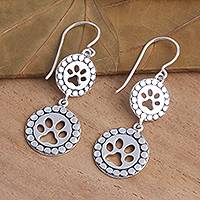 Sterling silver dangle earrings, 'Double Paws' - Paw Print Sterling Silver Dangle Earrings
