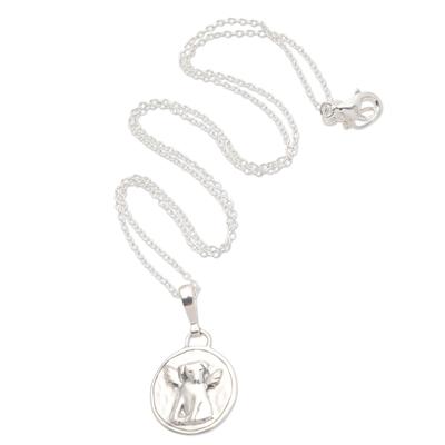 Sterling Silver Pendant Necklace Angel Dog
