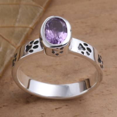Amethyst single stone ring, 'Paw Prints in Purple' - Amethyst and Sterling Silver Paw Print Ring
