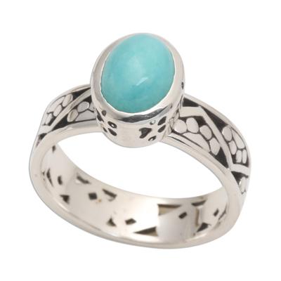 Bezel Set Amazonite Cabochon Sterling Silver Paw Print Ring