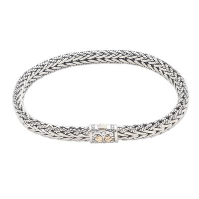 Gold-accented sterling silver bracelet, 'Well Known' - Handmade Sterling Silver and Gold Accented Braided Bracelet