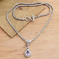 Gold- accented amethyst pendant necklace, 'Alluring Danger in Purple' - Gold Accented Sterling Silver Amethyst Pendant Necklace