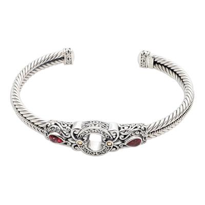 Gold accented garnet cuff bracelet, 'Hidden Gate in Red' - Sterling Silver and Garnet Cuff Bracelet from Bali