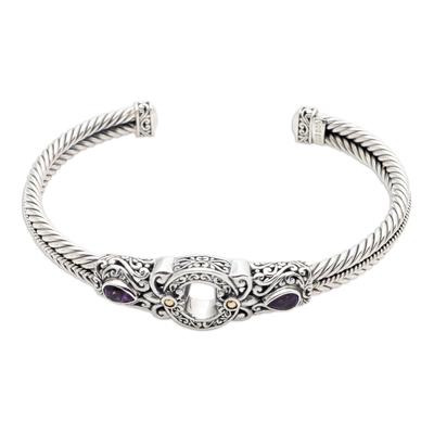 Gold-accented amethyst cuff bracelet, 'Hidden Gate in Purple' - Sterling Silver and Amethyst Cuff Bracelet from Bali
