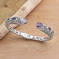 Gold-accented amethyst cuff bracelet, 'Fierce Warrior in Amethyst' - Sterling Silver and Amethyst Cuff Bracelet from Bali