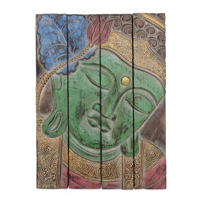 Four Panel Wood Wall Panel Buddha in Green