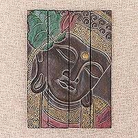 Wood wall panel, 'Buddha Visage in Brown' - Four Panel Wood Wall Panel Buddha in Brown