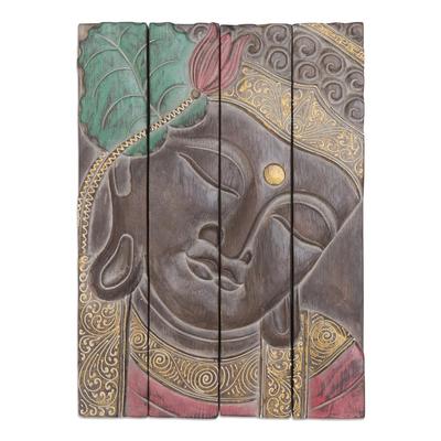 Four Panel Wood Wall Panel Buddha in Brown