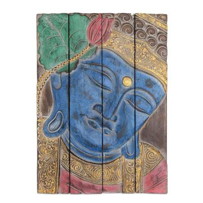 Four Panel Wood Wall Panel Buddha in Blue