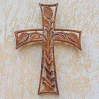 Wood wall cross, 'Life Forest' - Hand Carved Wood Cross with Leaf Motif