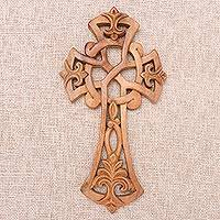 Wood wall cross, 'Beauty in Bali' - Hand Carved Wood Cross with Balinese Design Motif