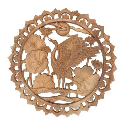 Wood relief panel, 'Expressive Bird' - Crane Suar Wood Relief Panel Handmade