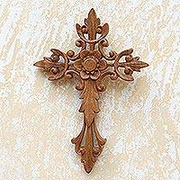 Wood wall cross, 'Natural Cross' - Flower Accent Wood Wall Cross