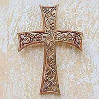 Wood wall cross, 'Growing Oak' - Oak Themed Wood Wall Cross