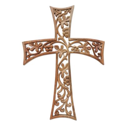Oak Themed Wood Wall Cross