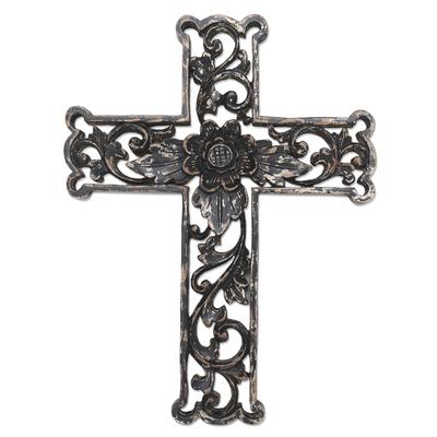 Wood wall cross, 'Antiqued Lotus Cross' - Distressed Black Floral Wood Wall Cross
