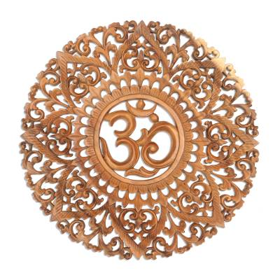 Wood relief panel, 'Natural Mantra' - Hand Carved Wood Relief Panel with Om Symbol