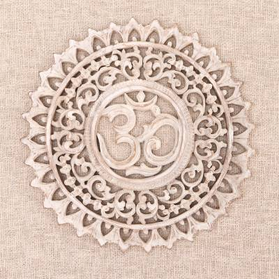 Wood relief panel, White Mantra