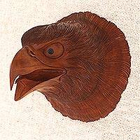 Wood wall sculpture, 'Eagle Eyes' - Hand Carved Suar Wood Eagle Head Wall Decor