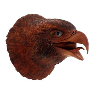 Hand Carved Suar Wood Eagle Head Wall Decor