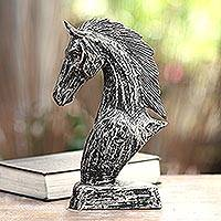 Wood statuette, 'Vintage Horse Head'