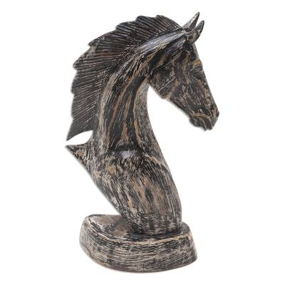 Wood statuette, 'Vintage Horse Head' - Distressed Horse Head Sculpture from Bali