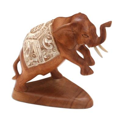 Wood sculpture, 'Fighting Elephant' - Hand Carved Suar Wood Elephant Statuette