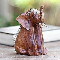 Wood sculpture, 'Sitting Elephant'