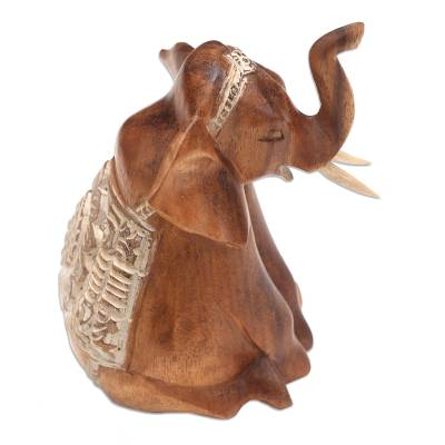Wood sculpture, 'Sitting Elephant' - Seated Elephant Hand Carved Wood Sculpture