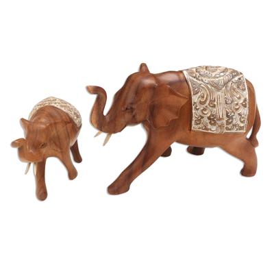 Artisan Crafted Elephant Sculptures (Pair)