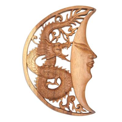 Hand Carved Wood Relief Wall Panel Moon and Dragon
