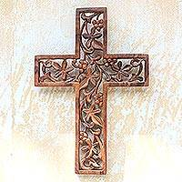 Wood wall cross, 'Natural Inspiration' - Hand Carved Wood Cross with Leaf and Vine Motif