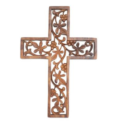 Hand Carved Wood Cross with Leaf and Vine Motif