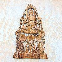 Wood relief panel, 'Teaching Buddha' - Buddha Vitarka Mudra Wood Relief Panel