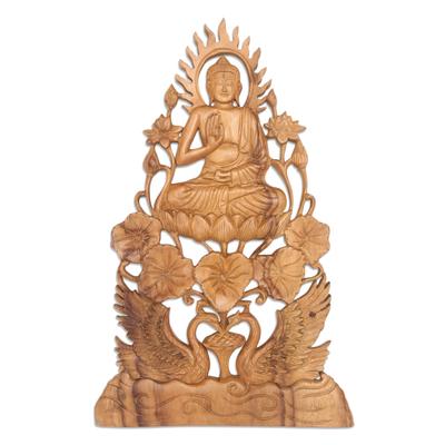 Buddha Vitarka Mudra Wood Relief Panel