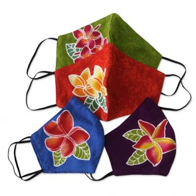 Hand painted rayon face masks, 'Island Plumeria' (set of 4) - 4 Hand Painted Plumeria on Balinese Batik 2-Layer Face Masks