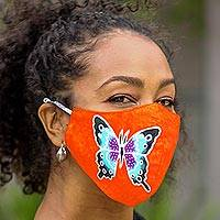 Hand painted rayon face masks, 'Island Butterfly Beauty' (set of 3) - 3 Hand Painted Butterfly on Balinese Batik 2-Layer Masks
