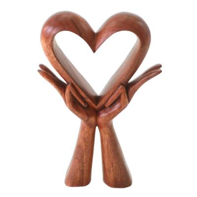 Wood sculpture, 'Giving Love' - Signed Wood Sculpture of Heart in Hands
