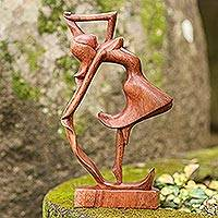 Wood sculpture, 'Dancing Woman' - Hand Carved Wood Statue of Woman Dancing