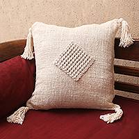 Woven cotton cushion cover, 'Gathered Attention' - Cotton Macrame Zippered Cushion Cover
