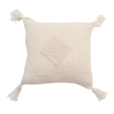 Cotton Macrame Zippered Cushion Cover
