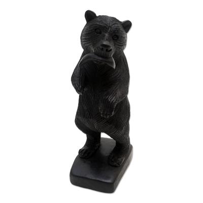 Hand Made Suar Wood Bear Statuette