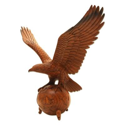 Hand Crafted Suar Wood Eagle Sculpture